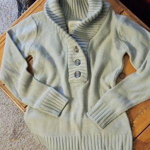 Button down, stone grey sweater